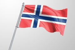 Isolated Norway Flag waving, 3D Realistic Norway Flag Rendered. Image stock photos