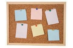 Isolated note board with path. Blank notes pinned to corkboard. Isolated on white with clipping path included Royalty Free Stock Image
