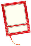 Isolated notebook with white dots and labels. Red notebook with white dots and labels with room for text; ribbons between the pages, isolated on a white Stock Photos