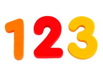 Isolated numbers 1 2 3. Photograph of the numbers one, two and three isolated on white background Stock Photography