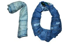 The isolated numbers from 1 to 10 laid out with jeans in different colors stock image