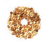 Isolated nuts circle. Isolated almonds, cashew, hazelnut circle and empty mid stock images
