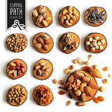 Isolated nuts set with clipping path. Royalty Free Stock Photo