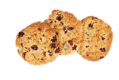 Isolated oatmeal raisin cookies Royalty Free Stock Photos