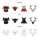 Isolated object of antler and animal symbol. Set of antler and death vector icon for stock. Vector design of antler and animal sign. Collection of antler and royalty free illustration