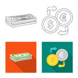 Isolated object of bank and money sign. Set of bank and bill vector icon for stock. stock illustration