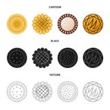 Isolated object of biscuit and bake icon. Collection of biscuit and chocolate stock symbol for web. Vector design of biscuit and bake symbol. Set of biscuit and stock illustration