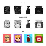 Vector illustration of can and food logo. Set of can and package stock symbol for web. stock illustration