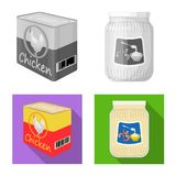 Vector illustration of can and food logo. Set of can and package stock vector illustration. Isolated object of can and food icon. Collection of can and package stock illustration