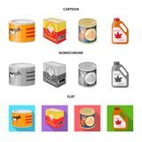 Isolated object of can and food logo. Collection of can and package stock vector illustration. Vector design of can and food icon. Set of can and package vector vector illustration