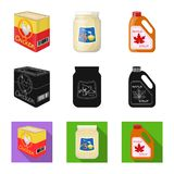 Isolated object of can and food logo. Set of can and package stock vector illustration. Vector design of can and food icon. Collection of can and package vector royalty free illustration