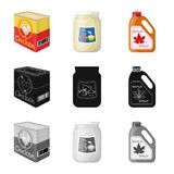 Vector illustration of can and food sign. Collection of can and package stock symbol for web. Isolated object of can and food logo. Set of can and package stock stock illustration