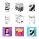 Isolated object of can and food logo. Set of can and package vector icon for stock. Vector design of can and food icon. Collection of can and package stock vector illustration