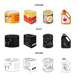 Vector illustration of can and food symbol. Set of can and package vector icon for stock. Isolated object of can and food sign. Collection of can and package vector illustration