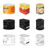 Isolated object of can and food symbol. Collection of can and package vector icon for stock. Vector design of can and food sign. Set of can and package stock vector illustration