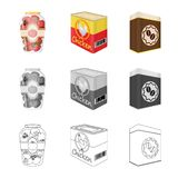 Vector illustration of can and food icon. Collection of can and package vector icon for stock. Isolated object of can and food symbol. Set of can and package stock illustration