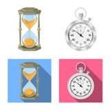 Isolated object of clock and time icon. Set of clock and circle stock symbol for web. vector illustration