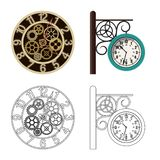 Vector illustration of clock and time sign. Collection of clock and circle stock symbol for web. stock illustration