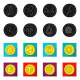 Vector illustration of cryptocurrency and coin logo. Collection of cryptocurrency and crypto stock vector illustration. vector illustration