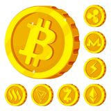 Isolated object of cryptocurrency and coin sign. Set of cryptocurrency and crypto vector icon for stock. royalty free illustration