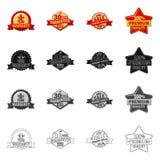 Vector illustration of emblem and badge logo. Collection of emblem and sticker stock vector illustration. Isolated object of emblem and badge icon. Set of vector illustration