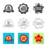 Vector illustration of emblem and badge sign. Set of emblem and sticker vector icon for stock. Isolated object of emblem and badge logo. Collection of emblem royalty free illustration