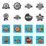 Vector illustration of emblem and badge sign. Set of emblem and sticker stock symbol for web. Isolated object of emblem and badge logo. Collection of emblem and vector illustration