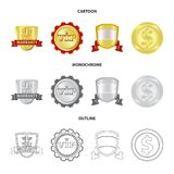 Vector illustration of emblem and badge symbol. Collection of emblem and sticker vector icon for stock. Isolated object of emblem and badge sign. Set of emblem vector illustration