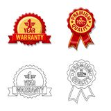 Vector illustration of emblem and badge icon. Set of emblem and sticker stock symbol for web. Isolated object of emblem and badge symbol. Collection of emblem royalty free illustration