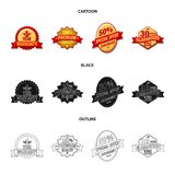 Vector illustration of emblem and badge icon. Set of emblem and sticker stock vector illustration. Isolated object of emblem and badge symbol. Collection of Vector Illustration