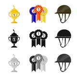 Isolated object of equipment and riding icon. Collection of equipment and competition stock symbol for web. Vector design of equipment and riding symbol. Set of vector illustration