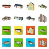 Isolated object of facade and housing icon. Collection of facade and infrastructure stock vector illustration. Vector design of facade and housing symbol. Set royalty free illustration