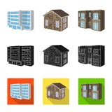 Vector illustration of facade and housing logo. Set of facade and infrastructure stock symbol for web. Isolated object of facade and housing icon. Collection of stock illustration