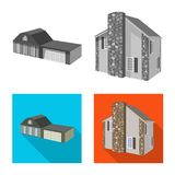 Vector illustration of facade and housing logo. Collection of facade and infrastructure stock symbol for web. Isolated object of facade and housing icon. Set of stock illustration