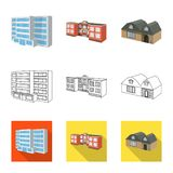 Isolated object of facade and housing icon. Set of facade and infrastructure stock symbol for web. Vector design of facade and housing symbol. Collection of royalty free illustration