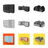 Isolated object of facade and housing logo. Collection of facade and infrastructure vector icon for stock. Vector design of facade and housing icon. Set of stock illustration