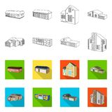 Vector illustration of facade and housing symbol. Set of facade and infrastructure stock symbol for web. Isolated object of facade and housing sign. Collection vector illustration
