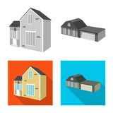 Isolated object of facade and housing sign. Collection of facade and infrastructure vector icon for stock. Vector design of facade and housing logo. Set of vector illustration