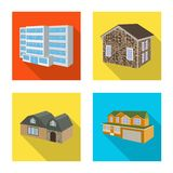 Vector illustration of facade and housing icon. Collection of facade and infrastructure stock symbol for web. Isolated object of facade and housing symbol. Set stock illustration