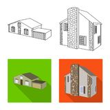 Vector illustration of facade and housing icon. Collection of facade and infrastructure stock vector illustration. Isolated object of facade and housing symbol vector illustration