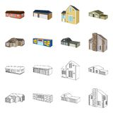 Isolated object of facade and housing symbol. Set of facade and infrastructure vector icon for stock. Vector design of facade and housing sign. Collection of vector illustration