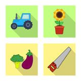 Isolated object of farm and agriculture logo. Collection of farm and plant vector icon for stock. stock illustration