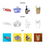 Vector illustration of food and drink icon. Collection of food and store stock symbol for web. royalty free illustration