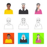 Isolated object of hairstyle and profession  symbol. Set of hairstyle and character  stock symbol for web. Vector design of hairstyle and profession  sign stock illustration