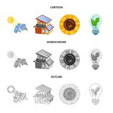Vector illustration of innovation and technology  symbol. Set of innovation and nature  vector icon for stock. Isolated object of innovation and technology royalty free illustration