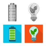 Vector illustration of innovation and technology  symbol. Set of innovation and nature  stock vector illustration. Isolated object of innovation and technology royalty free illustration