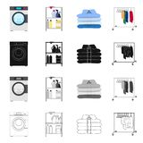 Vector illustration of laundry and clean sign. Collection of laundry and clothes vector icon for stock. Isolated object of laundry and clean logo. Set of royalty free illustration