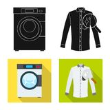 Vector illustration of laundry and clean symbol. Set of laundry and clothes vector icon for stock. Isolated object of laundry and clean sign. Collection of royalty free illustration