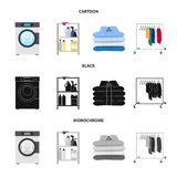 Isolated object of laundry and clean sign. Collection of laundry and clothes stock vector illustration. Vector design of laundry and clean logo. Set of laundry stock illustration