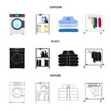 Vector illustration of laundry and clean symbol. Collection of laundry and clothes stock vector illustration. Isolated object of laundry and clean sign. Set of stock illustration